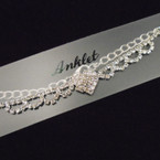 Silver Chain Anklet w/ Rhinestone Heart .54 each