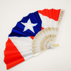 "9"" White Handle Puerto Rico Flag Hand Fans .56 each"