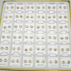 36 Pair 6MM Clear Crystal  Stud Earrings in display Gold Prong .20 per pair