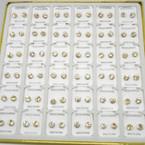 36 Pair 6MM Clear Crystal  Stud Earrings in display Gold Prong .20 per pair
