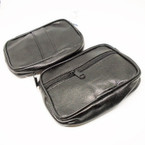 "5"" Black Leather 2 Zipper Bag w/ Belt Loop .62 each"
