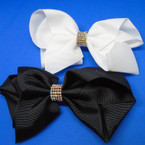 "5.5"" Black & White Gator Clip Bow w/ Crystal Stone Center .54 each"
