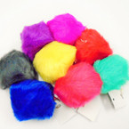 "Big 4"" Faux Fur Pom Pom Ball Keychains Mixed Colors  .56 each"