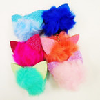 "3"" Faux Fur Pom Pom Ball Keychains Glitter Cat Ear's .56 each"