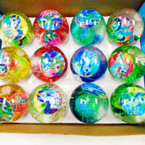 "2.5"" Glitter Flashing Bounce Water Balls w/ Unicorn 12 per display .58 each"