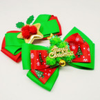 "5"" Layered Red & Green Christmas Gator Clip Bows w/ Ornaments .56 each"