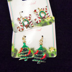 Cast Gold & Silver JOY & Christmas Tree Earrings .54 each