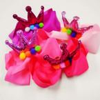 "6"" Gator CLip Bow w/ Pom Pom's & Glitter Crown Pink Tones .58 ea"
