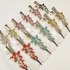 "5"" Silver Metal Salon Clips Mixed Colored Stones ONLY .54 each"