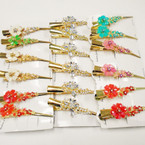 "5"" Gold Metal Salon Clip w/ Colored Stones 24 pcs per pk .54 each"
