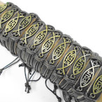 Teen Leather Bracelet w/ Gold JESUS Fish Plaque .54 each