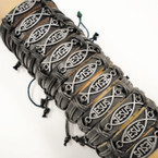 Teen Leather Bracelet w/ Silver JESUS Fish Plaque .54 each