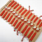 Handmade Red Macrame Bracelet w/ Crystal Stone Elephant .54 each