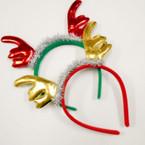 Metallic Antler Christmas Headbands w/ Silver Tinsel   .58 ea