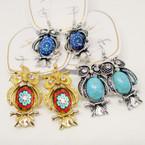 "New Fashion 1.5"" OWL Earrings w/ Crystal Stone .56 each"