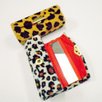 "3"" Velvet Cheetah Print Mirrored Lipstick Case .54 each"