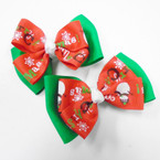 "2 Layer 3.5"" Christmas Theme Gator Clip Bows 24 per pk .27 each"