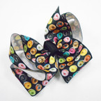 "Mixed Color 5"" Donut Theme Print Gator Clip Bows .54 each"