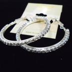 """1.5"""" Silver Hoop Earrings w/ Clear Crystal Stones .54 each"""