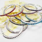 """1.5"""" Silver Hoop Earrings w/ Asst Color  Crystal Stones .54 each"""