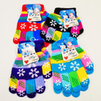 Kid's Knit Winter Magic Gloves w/ Snowflake Prints  .56 ea pair