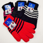 Striped Pattern One Size Knit Winter Magic Gloves   .54 ea pair
