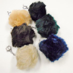 "3"" Faux Fur Pom Pom Ball Keychains Winter Colors .56 each"