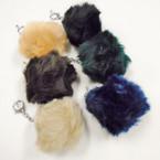 "3"" Faux Fur Pom Pom Ball Keychains Winter Colors .56 each"