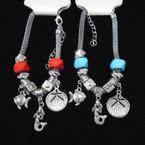 Pandora Style Bracelet Silver w/ Color Bead & Nautical Charm   .56 each