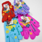 One Size Knit Winter Magic Gloves w/ Princess & Flower  Prints  .56 ea pair