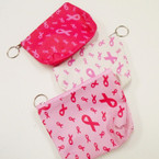 "5"" Pink Ribbon Theme Zipper Coin w/ Key Chain .56 each"