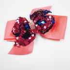 "5"" Mixed Color 2 Layer Sequin  Gator Clip Bows w/ Crystals  .54 each"