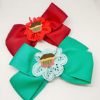 "6"" Mixed Color  Gator Clip Bows w/ Lace & Cupcake  .54 each"