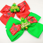 "5"" 2Layer Christmas Gator Clip Bow w/ Tree & Merry Christmas .56 each"