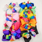 "5"" Mixed Color  Gator Clip Bows w/ Rainbow Ribbon  .54 each"