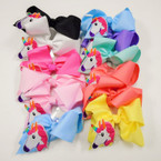 "5.5"" Mixed Color  Gator Clip Bows w/ Unicorn Patch  .54 each"