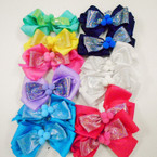 "5.5"" Mixed Color  Gator Clip Bows w/ Metallic Fabric & Pom Pom .54 each"