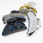 "Glitzy 3"" Shiney Stone Jaw Clips Asst Colors As Shown .54 each"