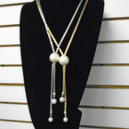 Fancy Gold & Silver  Chain Fashion Necklace w/ Pearl Drops .58 each