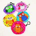 "4"" Asst Color Owl Theme Zipper Coin Bags w/ Clip .56 each"