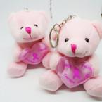 """4"""" Plush Pink Ribbon Theme Keychains w/ Heart 12 per pk .65 each"""