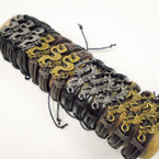 Teen Leather Bracelet w/ Gold & Silver Dragon .54 each