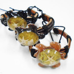 Teen Leather Bracelet w/ Acrylic Turtle w/ Inlay Shell & Sand .54 each