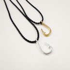 "18"" Braid Black Cord Necklace w/ Gold & Silver Fish Hook Pend. .54 each"