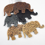 "3"" Wood Elephant Earrings Trunk Up Natural Colors .52 each pr"