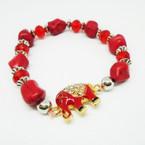 Red Stone Stretch Bracelet w/ Crystal Stone Red Elephant  .54 each