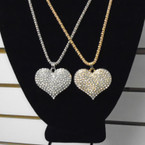 "16"" Fancy Gold & Silver Chain Necklace w/ Crystal Stone Heart  .56 each"