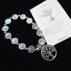 Silver Tree of Life Beaded Bracelet w/ Tree Charm .54 each