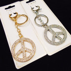 Gold & Silver w/ Crystal Stone BLING  Peace Sign  Keychain/Purse Clip .58 each