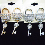 Gold & Silver Lock & Key Crystal Stone Fashion Earrings .54 ea pr